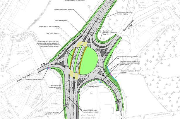 The roundabout today alongside the potential design for the layout of the new A30 Loggans Moor junction.